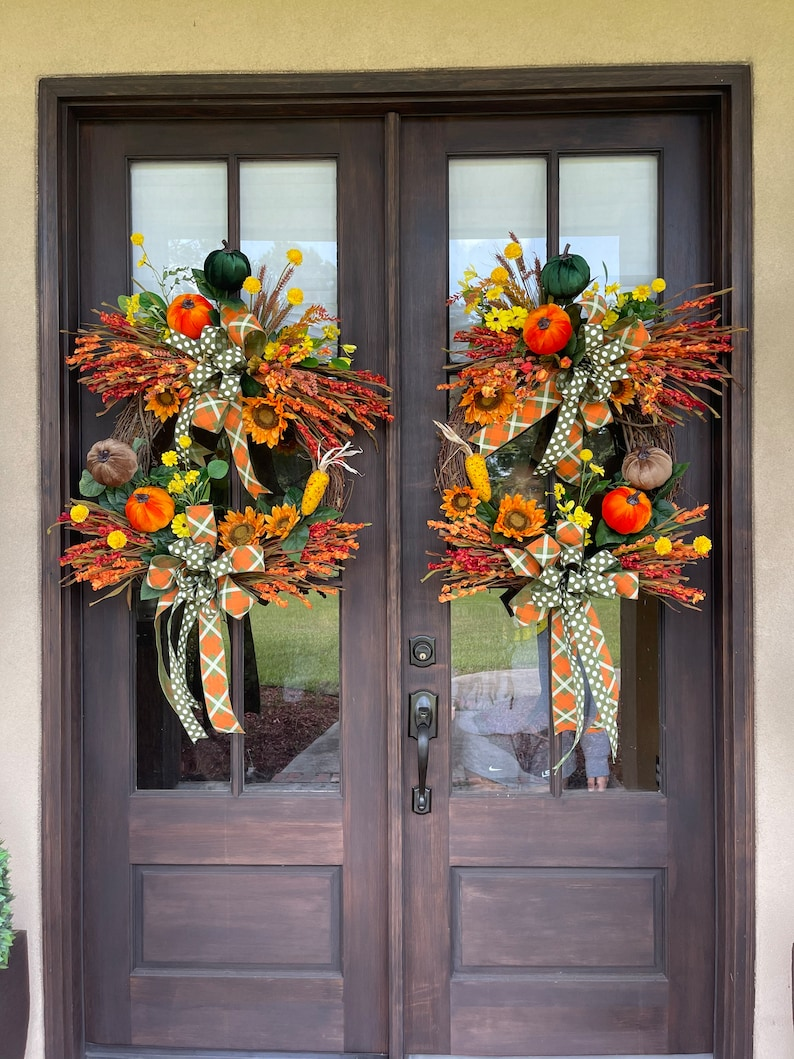 EXTRA LARGE Fall Grapevine Wreath for Front Door All Season image 8