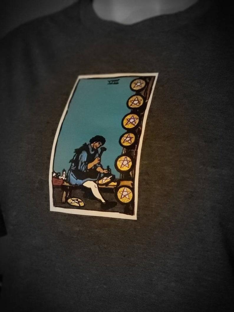 8 of Pentacles Vintage Rare Handmade Tarot Card Tshirt