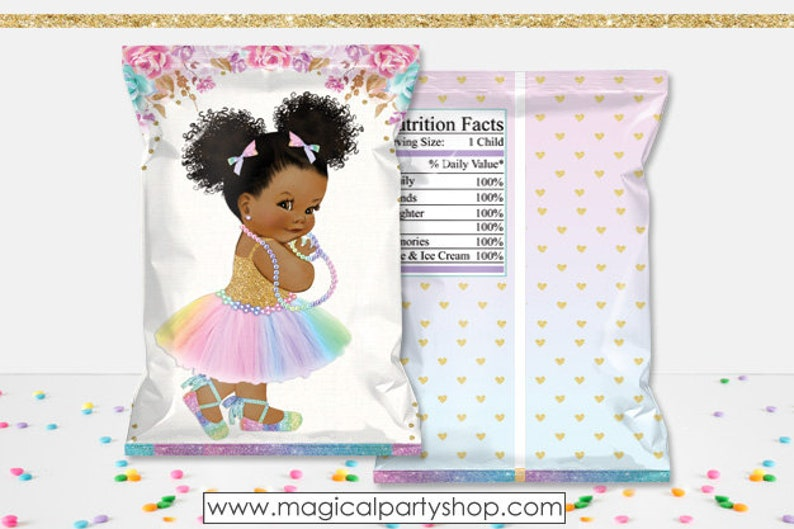 Magical Rainbow Gold Glitter Baby Girl African American Puffs Princess Printable Chip Bags Digital Instant Download