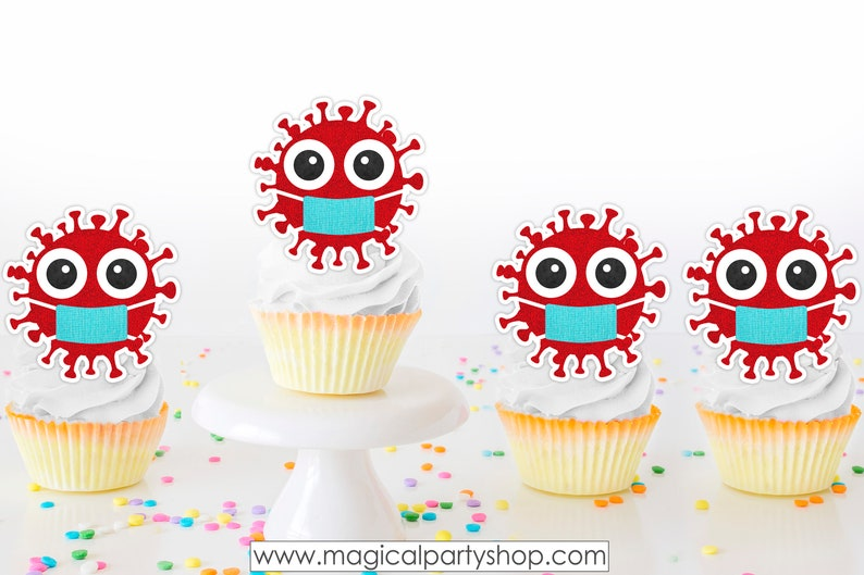Quarantine Birthday Cupcake Toppers  Virus Cupcake Toppers  image 0