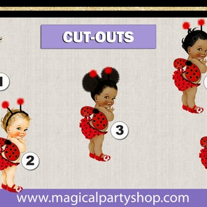PRE CUT Red Black Ladybug Wings Dark and Medium Skin Baby Girl Centerpiece with Wood Stand OR Card Stock Cut Out Baby Centerpiece Birthday