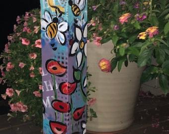 "Outdoor Art Light / Whimsey Garden Pole Decoration /Totem Pole/ yard art light/ solar garden decor   ""In the Garden"""