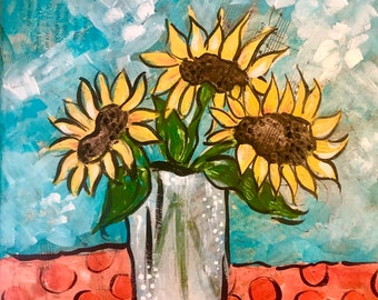 """Whimsey Mixed Media Collage Painting - """"Sunflowers"""""""