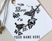 Custom Ex Libris Stamp, Custom Printing Press Bookplate, Personalizable Library Stamp, Custom Gift Stamp, Birds, Sparrows,-0033300320