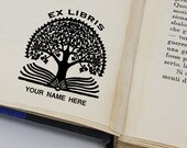 Custom Ex Books Stamp, Custom Printing Press Bookplate, Personalizable Library Stamp, Custom Gift Stamp, tree of life, -2334031219