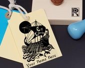 Custom Ex Libris Stamp, Custom Printing Press Bookplate, Personalizable Library Stamp, Custom Gift Stamp, Sailing ship dolphins, -0030270220