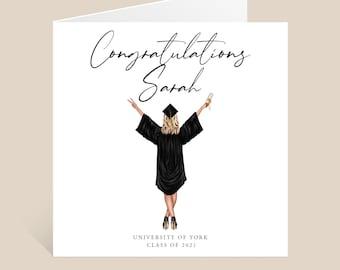 Graduation Card, Personalised Graduation Card, Graduation Card for Her, Congratulations Card, Grad Card, University Leavers Card, Custom