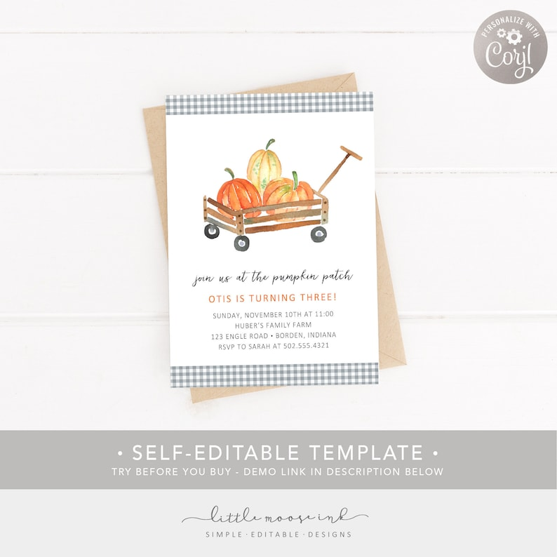 TEMPLATE DIY 1st 2nd 3rd 5th Birthday Digital Invitation Corjl Boy Fall Birthday Halloween Birthday Pumpkin Patch Birthday Invitation