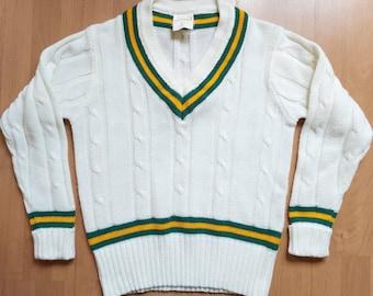 12-14 M SALE 70\u2019s ACRYLIC hand knitted lime green v neck sweater pull over leaf design u.k