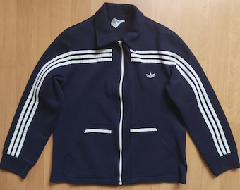 Vintage 1970s Adidas Wool Track Jacket Trefoil Logo Schwahn Tracksuit Top Navy Blue Training Collared Jacket Made in West Germany Sz 54