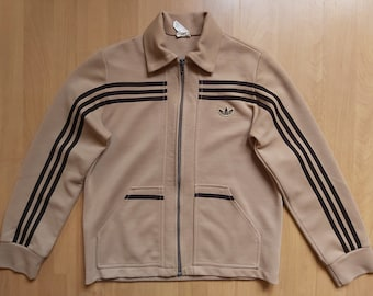 Vintage 1970s Adidas Wool Track Jacket Trefoil Logo Schwahn Tracksuit Top Brown Training Collared Jacket Made in West Germany Size XS