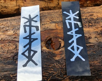 Huso Bindrune weatherproof sticker on chrome foil (2)
