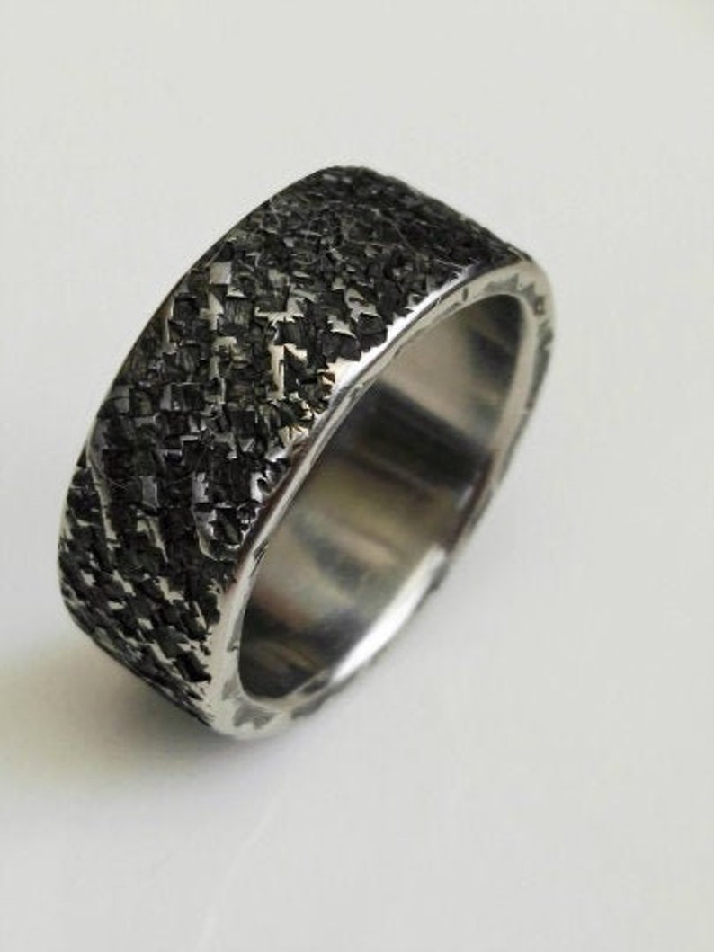 Textured ring stainless steel ring Hammered ring Rustic ring Minimalist ring Wedding ring stainless steel ring