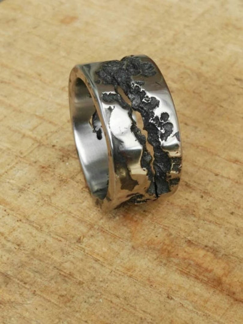 Textured Ring stainless steel ring Organic Design Molten ring