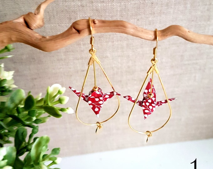 Pattern origami crane earrings of your choice