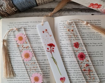 handmade resin bookmarks, with real flowers, pink and red