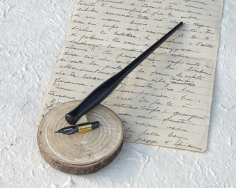 Oblique pen holder straws for calligraphy (penholder) in plastic with metal flange