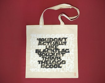 BLACKFLAG - Tote Bag / Cotton Shopper / Calligraphy *ONE PIECE*