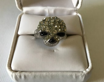 Details about  /925 Sterling Silver Skull Ring Width 10mm Fashion Ring TA256A US 6.5-15