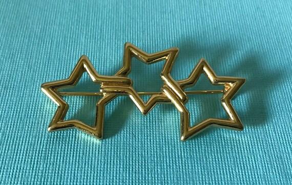 Vintage star brooch three star pin, gold star broo