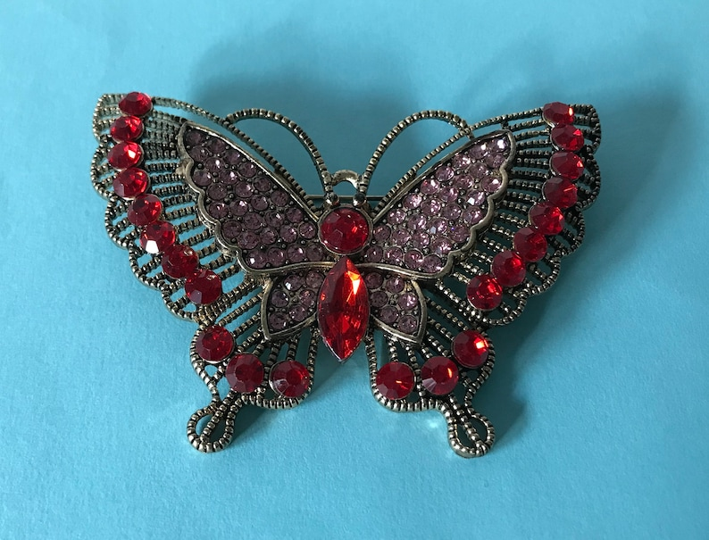 butterfly brooch insect pin bug Large red rhinesotne butterfly pin butterfly jewelry red butterfly in insect pins large butterfly pin