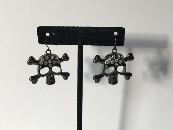 Vintgage large skeleton earrings, rhinestone skele