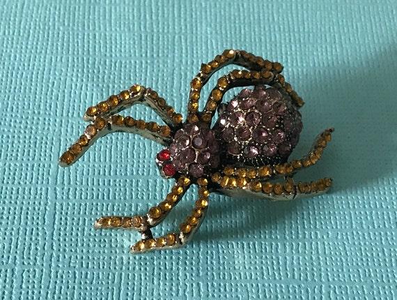 Rhinestone spider brooch, purple spider pin, yello