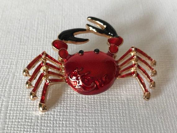gold crab spider king crab pin crab pins red crab brooch red and gold crab pin dungenous crab crab pin Red crab brooch spider crab
