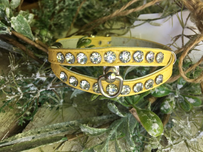 Rhinestone double row Leather Yellow Fancy for X-small dog or puppy 9.5 to 11 inch neck Made in USA #12 Bling Dog Collar