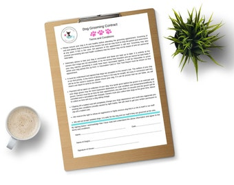 PERSONALISED Dog Grooming Set of 10 Contracts and Disclaimers DIGITAL DOWNLOAD