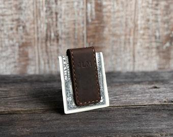 Personalized Leather Money Clip. Custom Money Clip. Engraved Money Clip. Minimalist Gift. Wedding Gift. Groomsmen Gift. Money Clip for Men