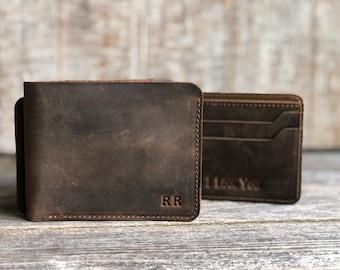 Slim Leather Wallet, DATE NIGHT, Personalized Bifold Wallet, Handmade Wallet for Men, Mens birthday gift, Monogram Mens wallet