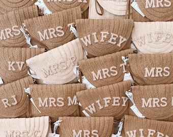 Ladies Personalised Embellished Straw Clutch Shoulder Bag. Mrs Wifey Bride Monogram Bridal Wedding Hen Gift Tan Natural Gem Rhinestone Pearl