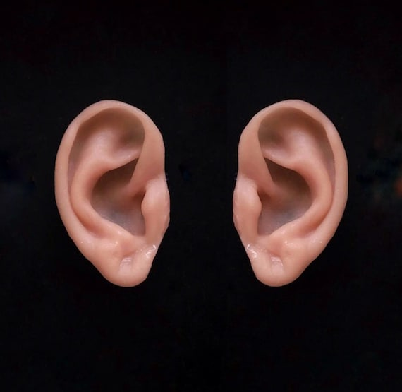 Larp Games Halloween Unpainted severed silicone  ear props for film