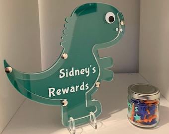 Children/'s Green Personalised Reward Jar// Chart// System with 20 stars
