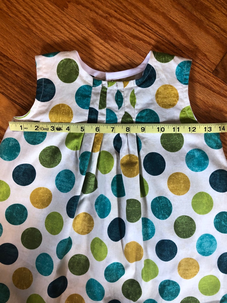 girl/'s aline dress with polka dots in blue and green size 3