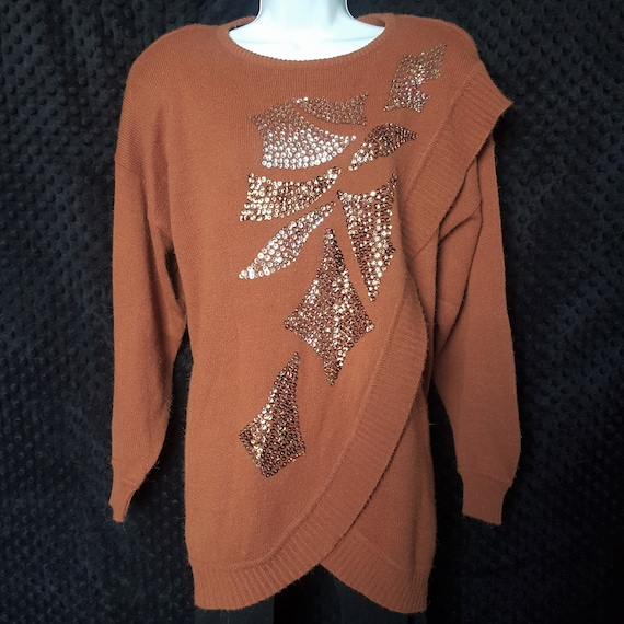 Vintage 80s Orange Mohair Sequin Oversize Tunic Sw