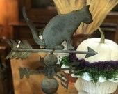 Rare Antique Tin Cat Weathervane For Fall Decor