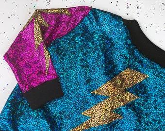 Kids Holographic Gold / Purple / Turquoise Lightning Bolt Bomber Jacket   D I S C O  B A B Y