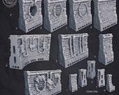 Sewers Wall Tiles set Dungeons and Dragons Wargames Warhammer Age of Sigmar AoS Fantasy Pathfinder RPG War Gaming Cast n Play