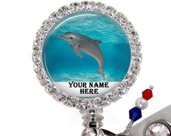Blue badge holder Dolphin fish badge holder Fish lanyard DOLPHINS Fish badge holder Beaded badge holder Blue fish lanyard