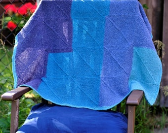 Blue Blanket Throw - Handmade Knitted Item from Pure Virgin Wool - Merino Yarns - Multicolored - Mitered Square Throw