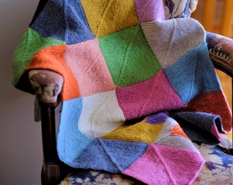 Knitting Pattern - Mitered Square Blanket - Advanced Knitter - Soft Merino Yarn - PDF Download - DK Worsted Weight Yarn - Knitted Blanket