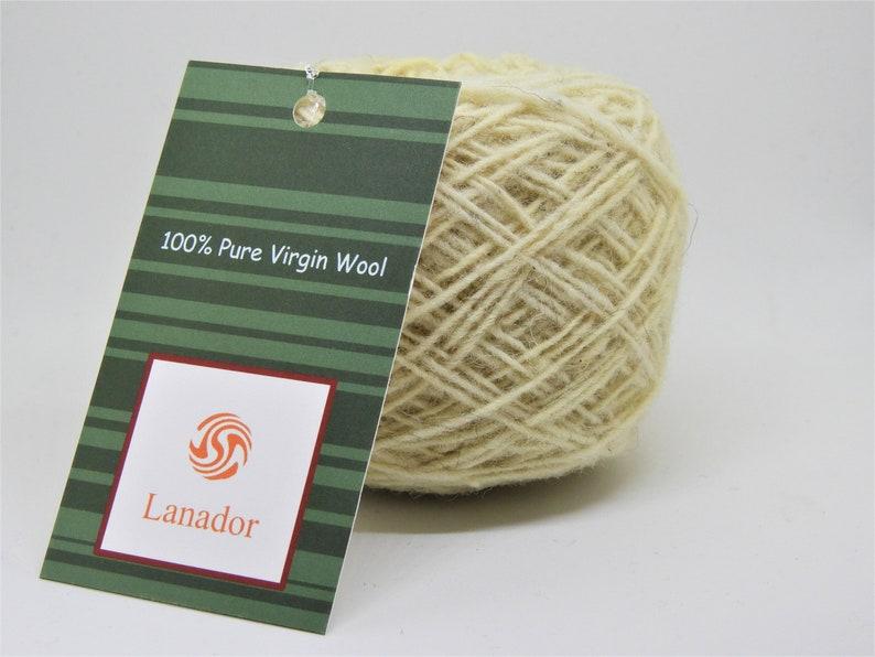 Pure Virgin Wool  Sport Fingering Weight Yarn  Natural White image 1