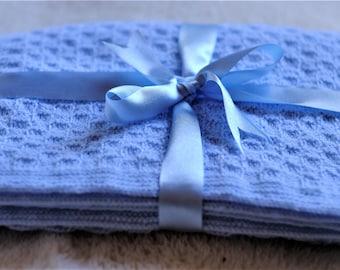 Knitting Pattern - Baby Boy Blanket - Pale Blue - Super Soft Acrylic Yarn - PDF Instant Download - Knitted Blanket - Handmade - Easy Pattern