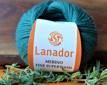 Merino Wool Yarn - Pine Green - Fingering Weight Yarn for Socks, Shawls and Pullovers for Kids and Adults -  Anti-Pilling - Super Soft