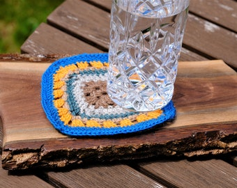Drink Coaster, Crochet Coaster, Made on Order,  Multicolored Merino Yarns, Farmhouse Country Style, Best Selling Items, Mug Rugs