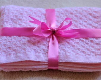 Knitting Pattern - Baby Girl Blanket - Pale Pink - Super Soft Acrylic Yarn - PDF Instant Download - Knitted Blanket - Handmade