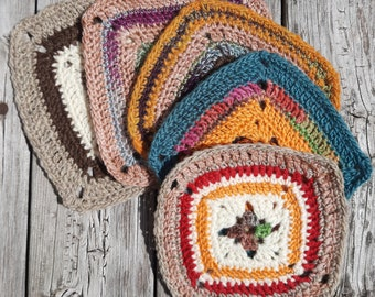 Crochet Square Coasters - Set of 5 Party Coasters - Handmade - Merino Wool and Pure Virgin Wool - Granny Squares - Mother's Day Gift