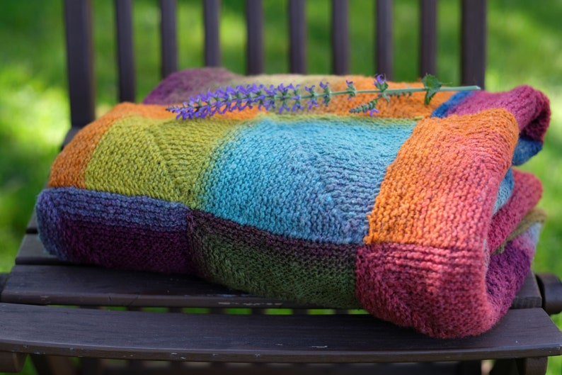 Knitted Blanket Throw  Multicolored Yarns  Handmade  image 1